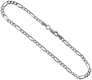 d34795fa4a8ab Sterling Silver Italian Figaro Chain Necklace 3mm Beveled Edge Nickel Free  20 inch Jewelry