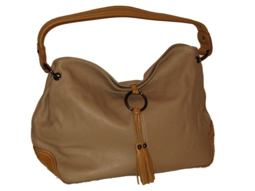 Soft Italian Leather Ring Detailed Shoulder Bag Taupe  &  Tan