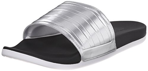 Adidas Performance Women's Adilette Supercloud Plus C Slides,Black/Metallic Silver/White,8 M US