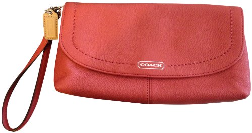 Coach   Coach Parker Leather Flap Wristlet Wallet Clutch Bag F49177 - Sienna