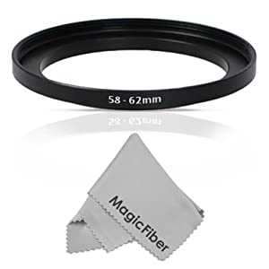 Goja 58-62MM Step-Up Adapter Ring (58MM Lens to 62MM Accessory) + Premium MagicFiber Microfiber Cleaning Cloth