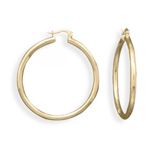 MMA Silver - 14 Karat Gold Plated Click Fashion Hoop Earrings