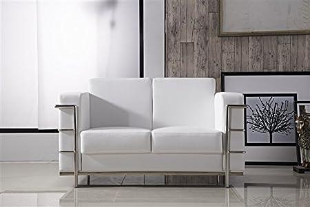 HOGAR DECORA - Sofa 2 plazas simil piel blanco y estruc acero inox