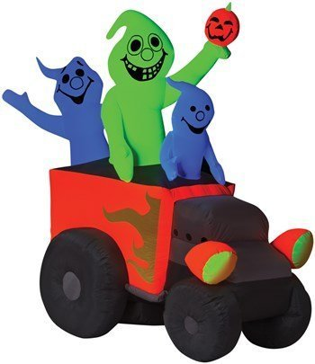 Gemmy Halloween Airblown Inflatable Hot Rod Ghosts