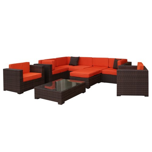 Atlantic Southampton Sectional 9-Piece Furmiture Set, Orange image