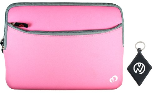 Samsung N145-JP02 10.1 Inch Netbook Laptop Quiet Neoprene Sleeve Case with External Zipper Division Pocket, Color Pink / Grey + NuVur � Keychain (ND10MBP1)