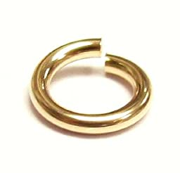 10 pcs 14k Gold Filled Round Open Jump Rings 6mm 18 Gauge 18ga Wire / Findings / Yellow Gold