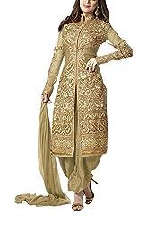 Fashion Bazaar Women's Georgette Unstitched Salwar Suit (Beige)