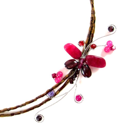 MGD, Pink Dragonfly Choker Necklace, 'Lady Dragonfly Necklace'