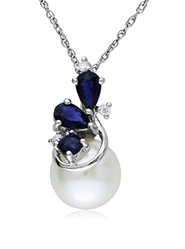 Michiko 10K White Gold Freshwater Cultured Pearl, Sapphire & Diamond Necklace