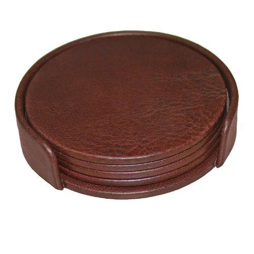 Dacasso Mocha Leather 4-Round Coaster Set Reviews
