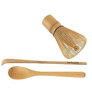 BambooMN Brand - Chasen (Tea Whisk) + Chashaku (Hooked Bamboo Scoop) for preparing Matcha + Tea Spoon by BambooMN