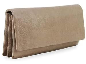 BOVARI XL Portefeuille et porte-monnaie femme (20x11x3 cm) - cuir de veau supermou - vintage taupe -