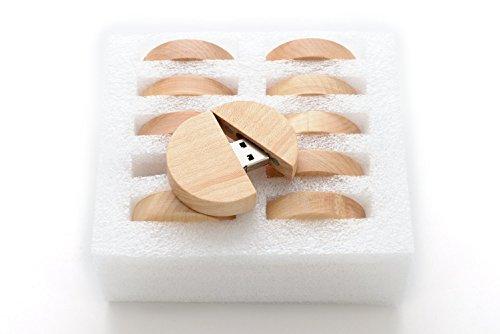 10 8GB Flash Drive - Bulk Pack - USB 2.0 Wooden Maple Round Orchard Design - 8 GB Flash Drive