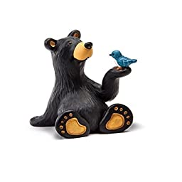 1 X Bearfoots Bears Minnie Bear with Bird Figurine by Demdaco Big Sky Carvers
