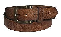 eXCorio Casual Grain Belt Brown with Antiq Buckle for Men's-CasualDarkBrBrass06