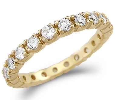 Size- 6 - Solid 14k Yellow Gold Eternity Channel CZ Cubic Zirconia Wedding Band Ring Size 5, 6, 7, or 8