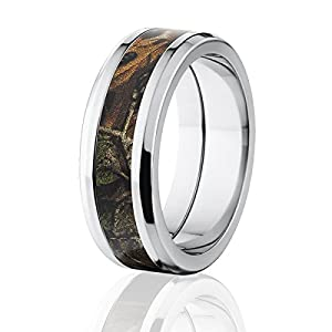 RealTree Xtra Official 8mm Wide, Titanium Camouflage Ring, Camo Rings