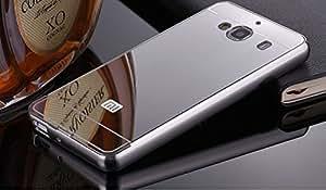 AEMA (TM) Luxury Metal Bumper + Acrylic Mirror Back Cover Case For Xiaomi Redmi 2 / Xiaomi Redmi 2 Prime - SILVER PLATED