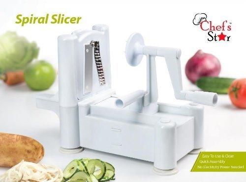 Chefs Star Spiralizer Omni-Blade Spiral Vegetable Slicer, Peeler And Shredder