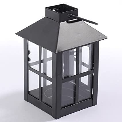 Package of 4 Black Painted Metal Tealight Lanterns with Glass Side Windows