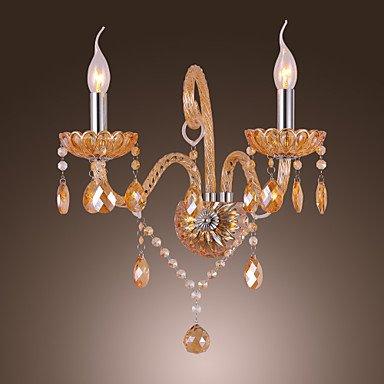 Artisitc Wall Light avec 2 lumiššres bougie Ambre cristal de style