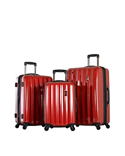 Olympia Titan 3 Piece Expandable Polycarbonate Hard Case Spinner Set, Red