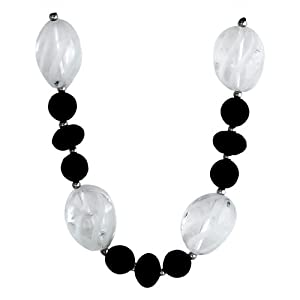 """10-10.5mm Round and 14mm Rondel Faceted Black Agate and Etched Spiral Crystal Bead Necklace Accented with Sterling Silver Beads and Clasp, 18"""""""