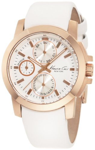 Kenneth Cole New York Women's KC2695 Chronograph Rose Gold Tone Bezel White Leather Strap Watch