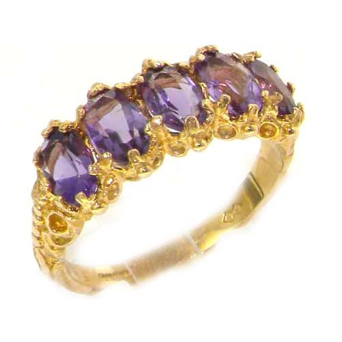 Victorian Design Solid 14K Yellow Gold Amethyst Ring - Size 9.25 - Finger Sizes 5 to 12 Available - Perfect Gift for Birthday, Christmas, Valentines Day, Mothers Day, Mom, Mother, Grandmother, Daughter, Graduation, Bridesmaid.