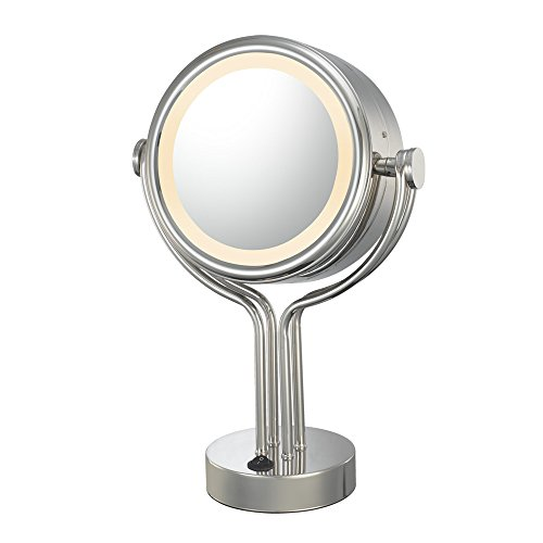 Kimball And Young 71445 Double-Sided Contemporary Four Post Vanity Mirror, 1X And 5X Magnification, Chrome