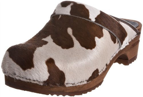 Sanita Wood Caroline Brown Cow Open Back Clogs & Mules - Factory 2nd - 39