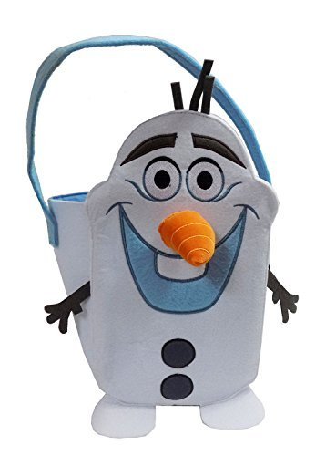 Disneys Frozen Olaf Felt Tote Basket with Velcro Nose - Perfect for Halloween Candy or Easter (Frozen Trick Or Treat Bag)