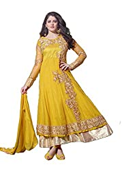 Krishna Yellow Color Georgette Semi Stitch Dress Material With Dupatta..