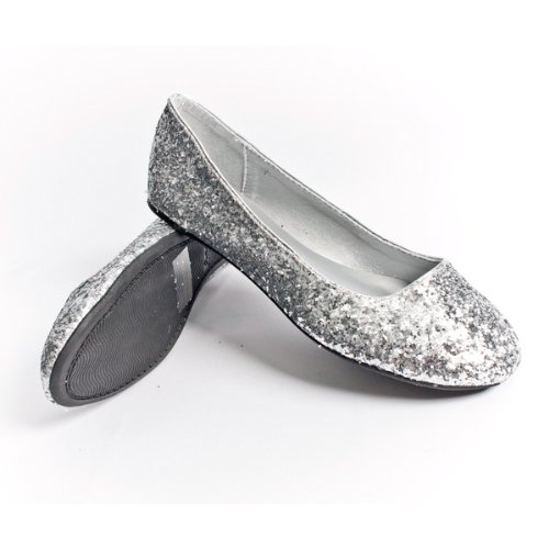 Qupid Women S Ballet Flats Ballerina Shoes Loafers Silver Glitter