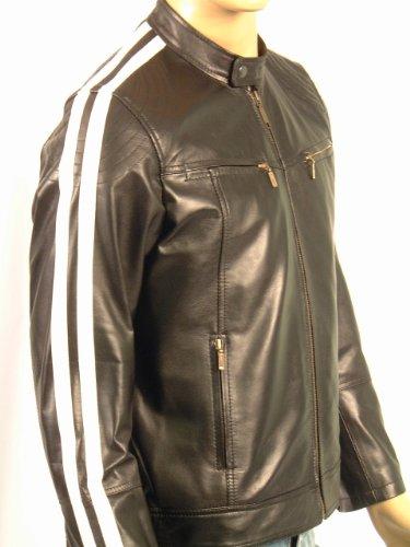 DAKAR - Mens Leather Jacket - Black with White Stripes - 2XL / 46