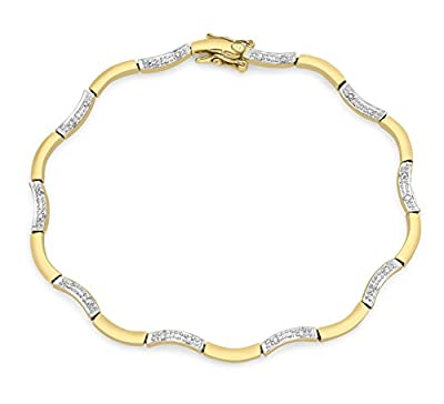 Carissima 9ct Yellow Gold 0.5ct Diamond Mini Flower/Wave Linked Bracelet 19cm/7.5""