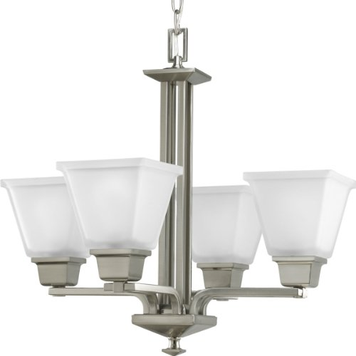 B002CZ7KKO Progress Lighting P4001-09 4-Light North Park Chandelier, Brushed Nickel