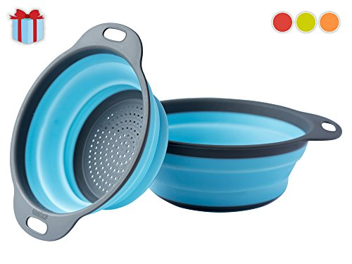 [Set of 2] Collapsible Kitchen Strainer (Colander) Set By Comfify - Includes Two Strainer Sizes: 8' and 9.5' - Blue and Gray (Pasta Tupperware compare prices)