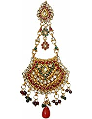 DollsofIndia Polki Jhoomar / Mang Tika - Stone And Metal - Length 5.5 Inches - Red