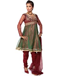 Exotic India Maroon Wedding Anarkali Suit With Heavy Beadwork On Bust - Maroon