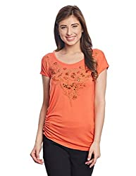Madame Women's Body Blouse Top (M1411075_Orange_X-Large)