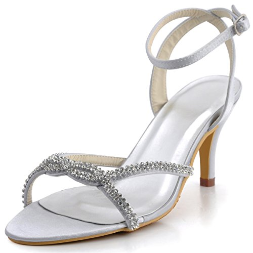 Elegantpark EP2056 Women Open Toe High Heel Rhinestones Ankle Straps Satin Prom Evening Sandals Silver US 7