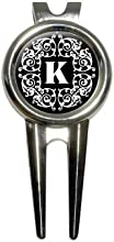 Letter K Initial Black and White Scrolls Golf Golfing Divot Repair Tool and Ball Marker