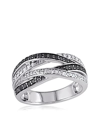 Rina Limor Silver with Black Rhodium 4-Row Diamond Crossover Anniversary Band with 1/2 Cttw Black an...