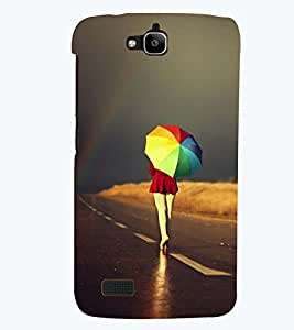 Printvisa Premium Back Cover Girl Walking With A Multicoloured Umbrella Design For Huawei Honor Holly