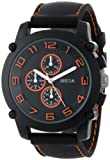"Breda Mens 8135_orange ""Colton"" Black Bezel Orange Accented Silicone Band Watch"