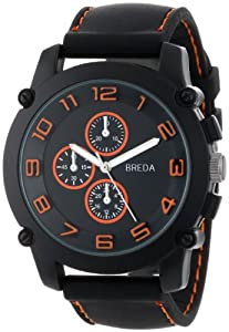 "Breda Men's 8135_orange ""Colton"" Black Bezel Orange Accented Silicone Band Watch"