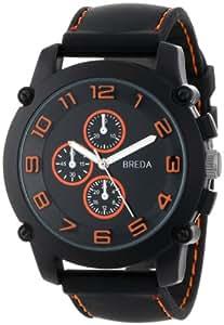 "Breda Men's 8135_orange ""Colton"" Black Bezel Orange Accented Silicone Band Watch"