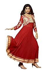 Adah Fashions Womens Georgette Anarkali Unstitched Dress Material (501-6007 _Red)
